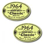 PAIR Distressed Aged Established 1964 Aged To Perfection Oval Design Vinyl Car Sticker 70x45mm Each